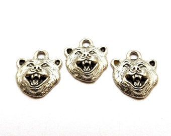 Three (3) Pewter Grizzly Bear Charms - Mascot (0154)