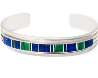 YAZZIE Navajo Cuff Bracelet Sterling Silver Lapis Malachite Native American Glittering World SALE Coupon Sparkle2017 For 15% Discount