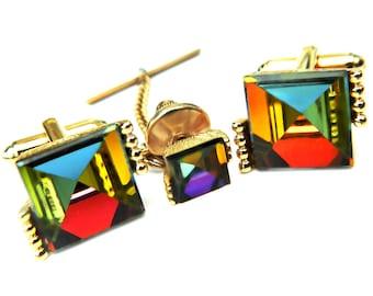 Dante Cufflinks Tie Tac Set Rainbow Spectrum Prism Rare Vintage Accessory For Men SALE Use Coupon Sparkle2017 For 15% Discount