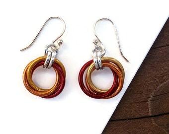 Red Orange Mobius Earrings, Infinity Loop, Chainmaille Earrings, Love Knot, Endless Knot, Lightweight Earrings, Mobius Flower, Gift for Her