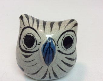 """2-1/4"""" Signed Pottery Owl from Mexico"""