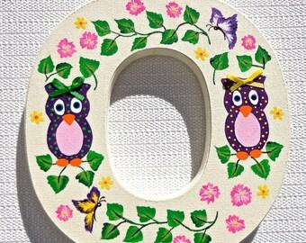 Hand Painted Letter O, Nursery Monogram With Purple Owls, Christmas Gift, Girl's Room Decor, Photo Prop, Baby Gift, Nursery Decor