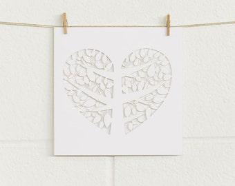 Laser-cut wedding invitation (Matte WHITE) with love heart tree - DIY blank
