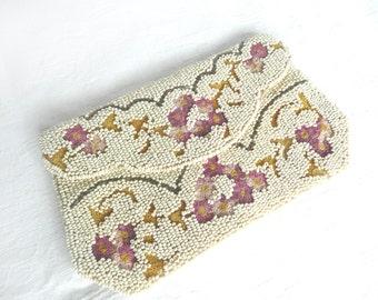 Antique bead purse - vintage wedding purse - 1920s beaded purse - antique Belgian hand beaded purse - Point de Beauvais bead purse