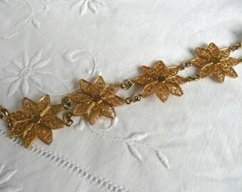 Vintage filigree bracelet - filigree star bracelet - Middle Eastern filigree bracelet - gold metal filigree bracelet