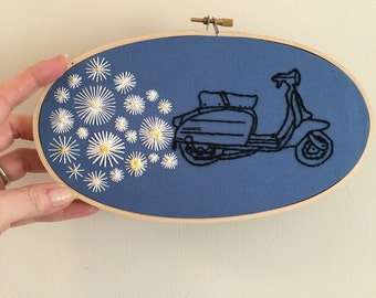 Hand Embroidered Hoop - Lambretta with Daisy Exhaust Fumes - 5 x 9 inches