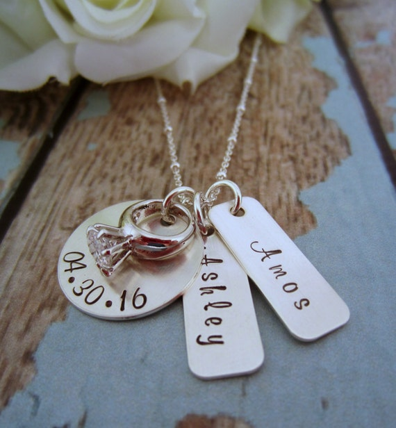 Wedding Gift Year Of Dates : Wedding Date Necklace, Bridal Shower Gift, Engagement Necklace ...