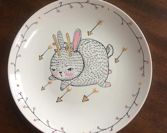 Mythical Rabbit Illustrated Plate with Arrows and Branches