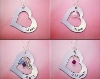 Mom Necklace, Handstamped Heart Necklace, Personalized Name Necklace, Birthstones, Pearl, Mother Necklace, Valentines Day, Mothers Day