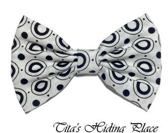 White Polka Dot Hair Bow, White Black Polka Dot Bow, Fabric Hair Bow, Kawaii Girl Hair Bow, Handmade Bow, Classic Girls Bow, Bow Tie, PD0037