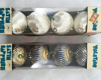 Mid Century Boxed Christmas Ornaments - Made in Japan - Awesome - 2 Boxes