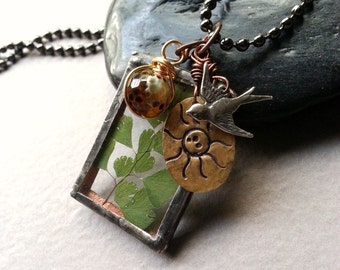 Nature Inspired Long Necklace, Fern Soldered Charm, Sterling Silver Swallow Charm, Stamped Sun Copper Charm, Ball Chain, Organic Boho Trends