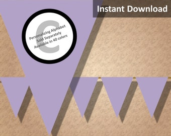 Lavender Purple Solid Birthday Party Bunting Pennant Banner Instant Download, Party Decorations