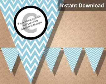 Light Teal Chevron Bunting Pennant Banner Instant Download, Party Decorations