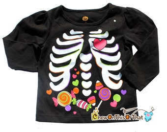 Black Halloween Skeleton Toddler Top with Candy in the Belly - Girls Costume Shirt
