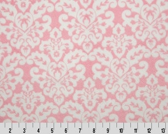 Shannon Fabrics Damask Cuddle Minky Fabric- Blush/Snow- 1 yard