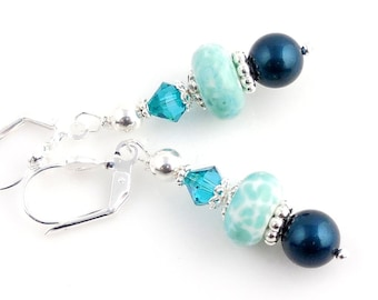 Blue and Turquoise Color Beaded Crystal and Lampwork Earrings, Fashion Accessories, Mother's Day, Easter