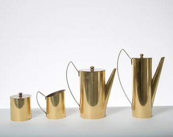 Mid Century Brass Tea and Coffee Set 1950s Regency Cream and Sugar Containers