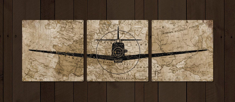 German Messerschmitt Metal Airplane Triptych 54x18