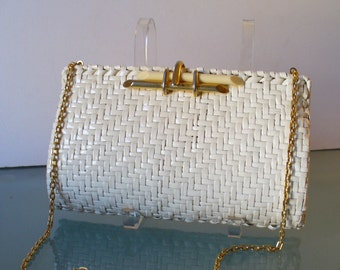 Vintage Rodo Cream Wicker Clutch Bag Made in Italy