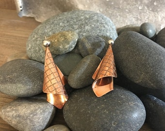Copper & Silver Earrings Engraved Lines Folded Form
