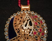 Statement necklace in colorful stones with a red crystal string, islamic art, Allah pendant, red necklace