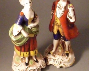 Art Deco Period Goebel Pair of Figures of Lovers a Lady and Gent in 18thc Costume