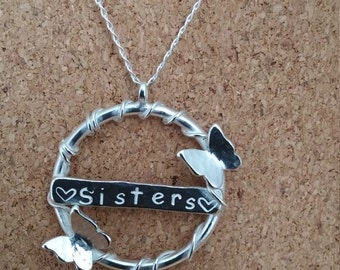 Sister Silver Necklace Pendant Sister Gift Butterfly Necklace Personalised Jewellery Silver Necklace