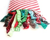 READY TO SHIP! Holiday Grab Bag: 20 Handmade Hair Ties, Solid,Tie Dye, Glitter and Prints Elastic--Good Value