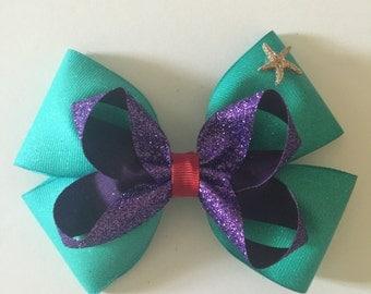 Disney princess Arial inspired hair bow