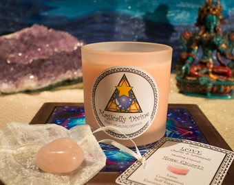 LOVE- Reiki Healing Candle & Crystal