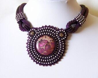 Purple Statement necklace - Beadwork Bead Embroidery Pendant Necklace with Purple Sea Sediment Jasper - Fall Fashion - purple - beige