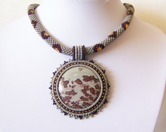 Beadwork Bead Embroidery Pendant Necklace with Chohua Jasper - HOPE DANCE - grey brown gold modern necklace - beadwork necklace
