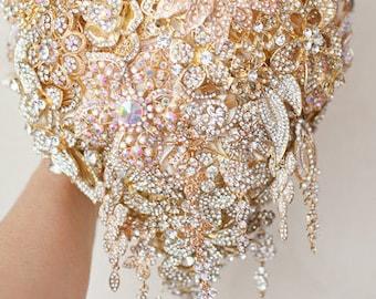 Cascading Brooch bouquet. Gold  wedding brooch bouquet, Jeweled Bouquet