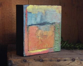 """small abstract painting 5x5 """"composition with star"""" oil on canvas"""
