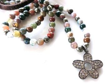 Pave Diamond Flower Pendant on leather, Diamond flower beaded leather necklace  multicolor agate,bohemian hippie 70s style,beachy coachella