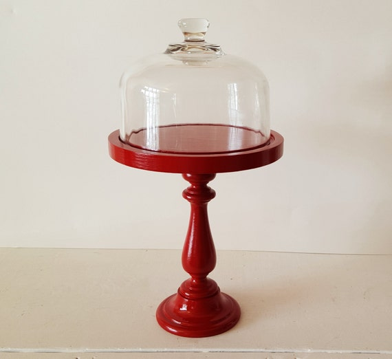 Red Cake Stand With Dome
