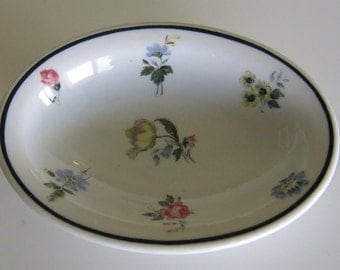 Shenango China Hotel Soap Dish Oval or Monkey Side Dish Floral Excellent Vintage Condition Made New Castle Pennsylvania