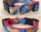 "Handmade Wonder Woman 5/8"" Adjustable Dog Collar - X-SMALL"