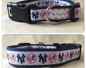 "Handmade NY Baseball 1"" Adjustable Dog Collar"