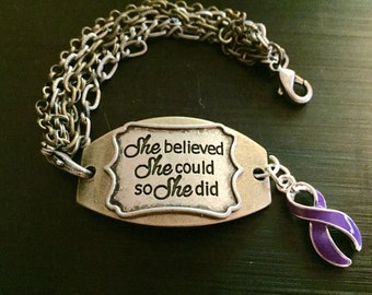 Purple Ribbon She Believed Bracelet - Alzheimer Disease / Chronic Pain / Crohn's / Colotis / Cystic fibrosis / Epilepsy / Pancreatic cancer