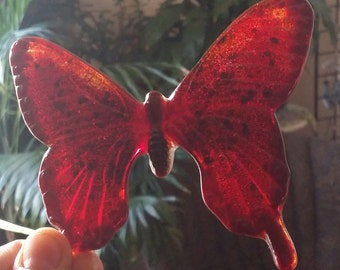Cabochon Jumbo Shades of Deep Bright Red Fused Glass ButterflyTile