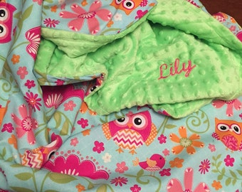 Adorable owl minky toddler Blanket embroidered