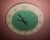 Retro ATOMIC KITCHEN CLOCK by Lux turquoise white with red second hand 1950s modern