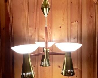 Stunning Atomic PULL DOWN #CHANDELIER brass teak 3 way switch 1950s