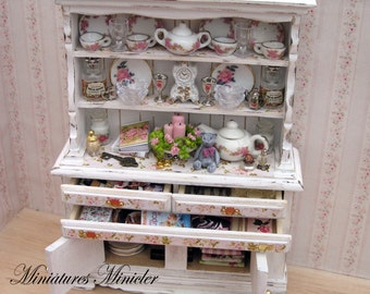 Miniature Dollhouse Cupboard With Accessories Shabby Chic Style