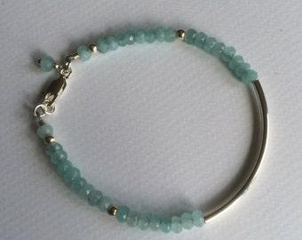 Semi precious Aqua agate and sterling silver stacking bracelet