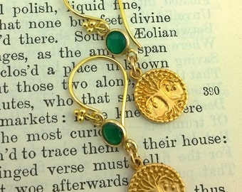 Green Onyx and Golden Tree of Life Earrings