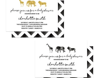 Safari Baby Shower Invitation - Gold or Black