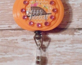 Happy Harvest Inspired Glitter Resin Retractable ID Holder